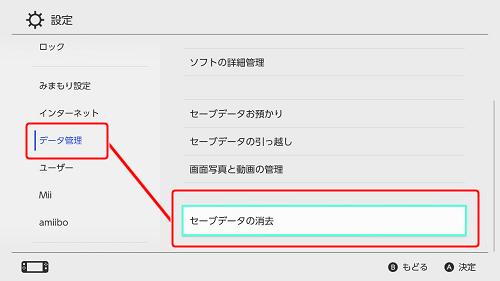 Switch】セーブデータを消去する方法を知りたい。